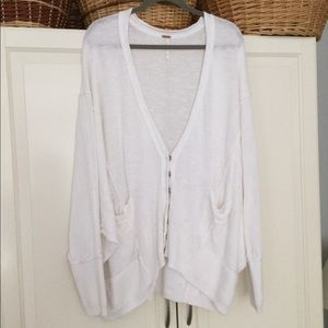 Free People Oversz cotton sweater cardigan white L